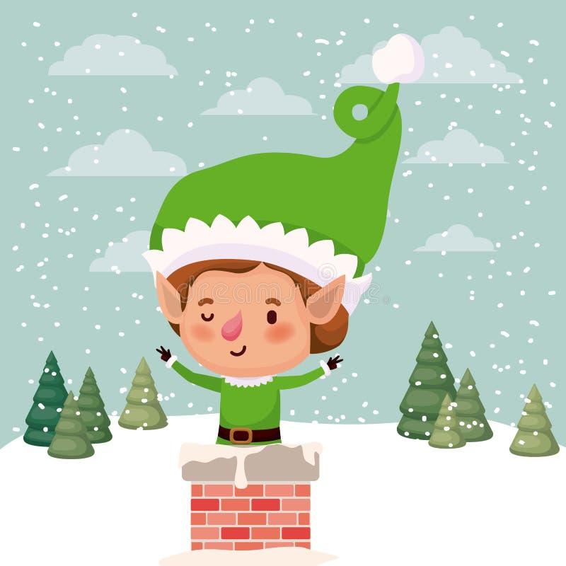 Aide mignonne de Santa avec la cheminée illustration de vecteur