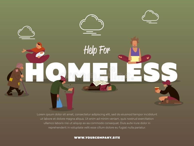 Aide pour la bannière sans abri avec le mendiant affamé illustration de vecteur