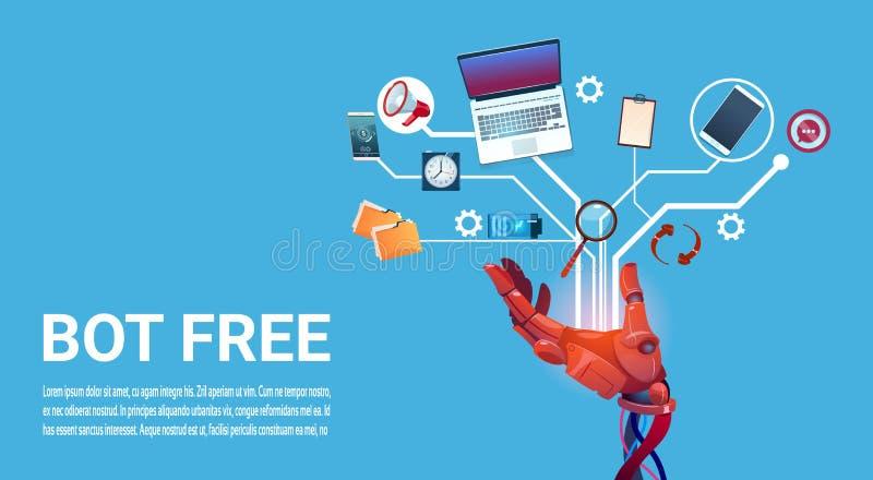 Aide virtuelle de robot gratuit de Bot de causerie de site Web ou d'applications mobiles, concept d'intelligence artificielle illustration de vecteur