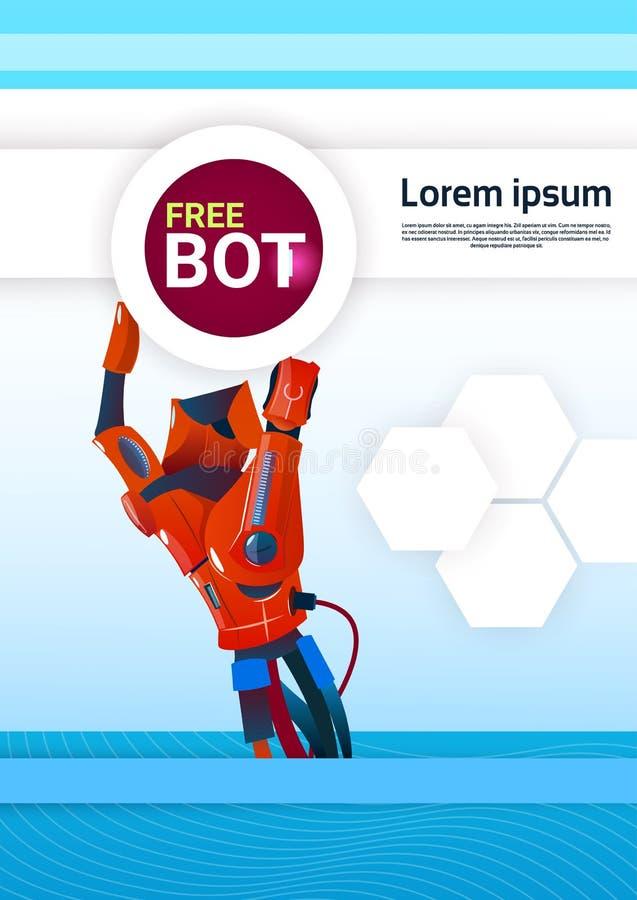 Aide virtuelle de robot gratuit de Bot de causerie de site Web ou d'applications mobiles, concept d'intelligence artificielle illustration stock