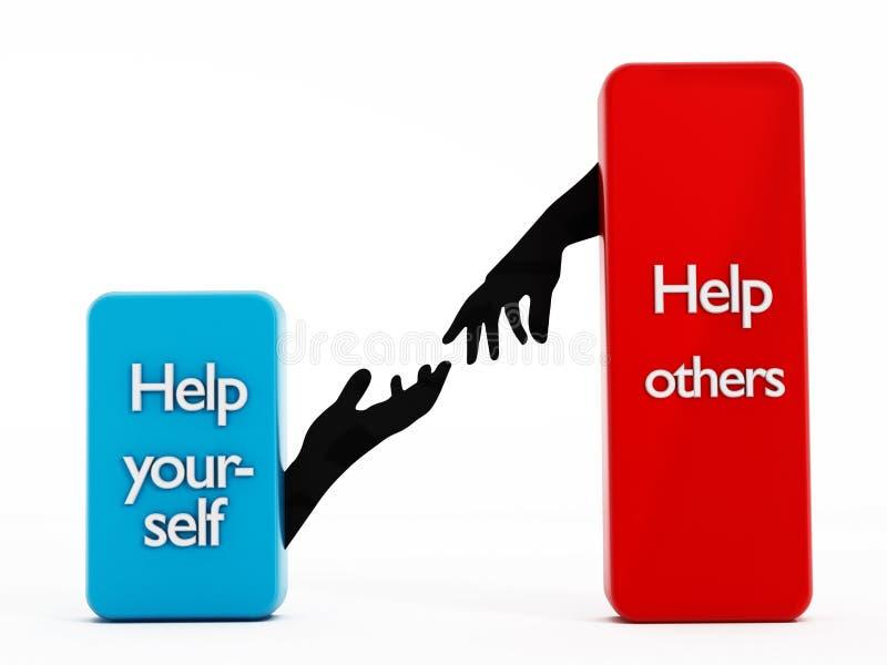 Aide vous-même et aide d'autres illustration de vecteur
