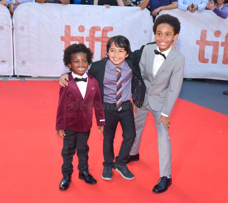Aiden Akpan, Callan Farris, en de Koningen` première van Reece Cody ` bij internationaal de filmfestival van Toronto in Toronto T royalty-vrije stock foto