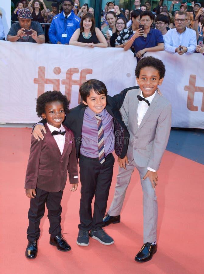 Aiden Akpan, Callan Farris, en Reece Cody wonen `-Koningen` première op internationaal de filmfestival van Toronto in bij Toronto stock afbeeldingen