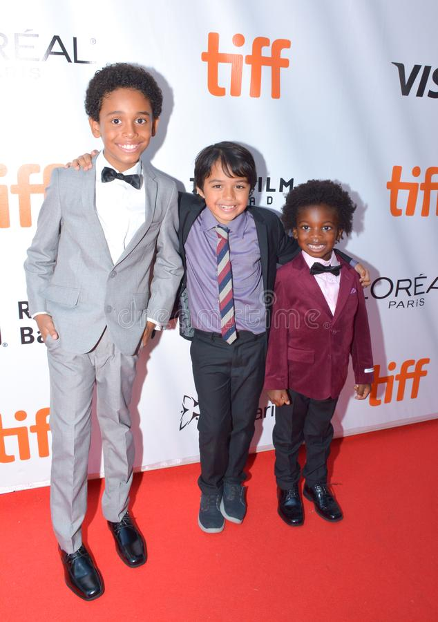 Aiden Akpan, Callan Farris, en Reece Cody wonen `-Koningen` première op internationaal de filmfestival van Toronto in bij Toronto stock foto
