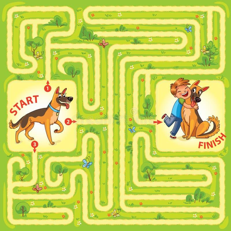 Aidez le caractère pour trouver une sortie du labyrinthe illustration stock