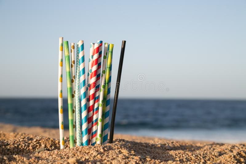 Aidez le coffre-fort l'océan - pailles de papier d'eco images stock