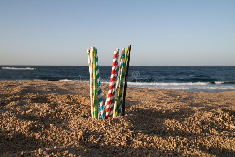 Aidez le coffre-fort l'océan - pailles de papier d'eco photo stock