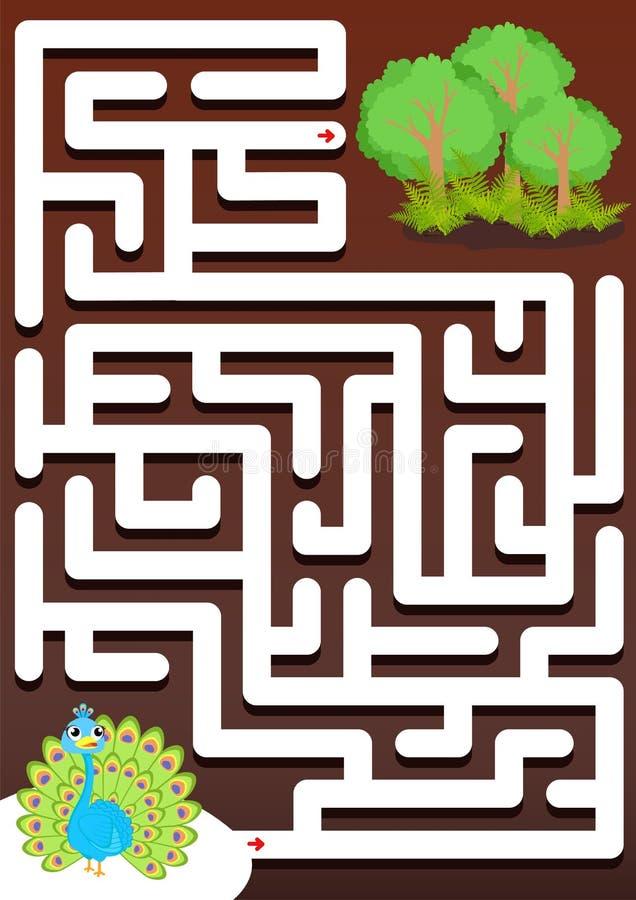 Aidez le paon à trouver le jeu de labyrinthe de forêt pour des enfants illustration stock