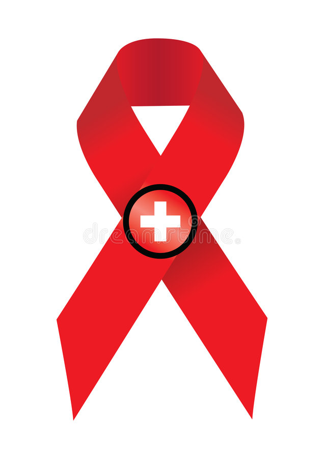 Aids. Symbol awareness hiv in white background stock illustration