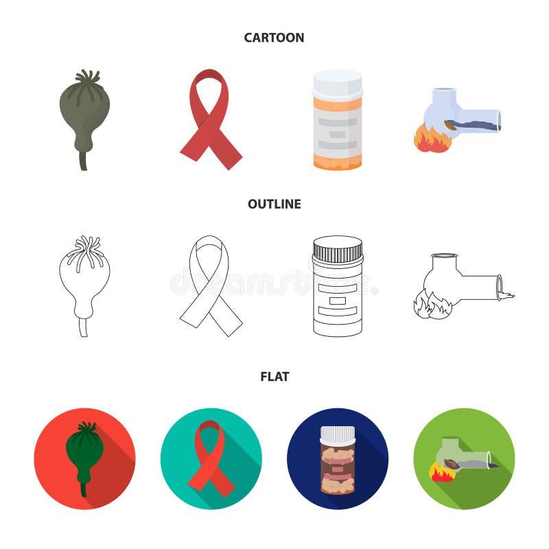 AIDS-band, tabletten, maankop, een buis voor hasjiesj Pictogrammen van de drug de vastgestelde inzameling in beeldverhaal, overzi royalty-vrije illustratie