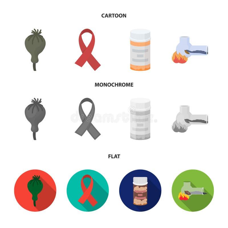 AIDS-band, tabletten, maankop, een buis voor hasjiesj Pictogrammen van de drug de vastgestelde inzameling in beeldverhaal, vlakke vector illustratie