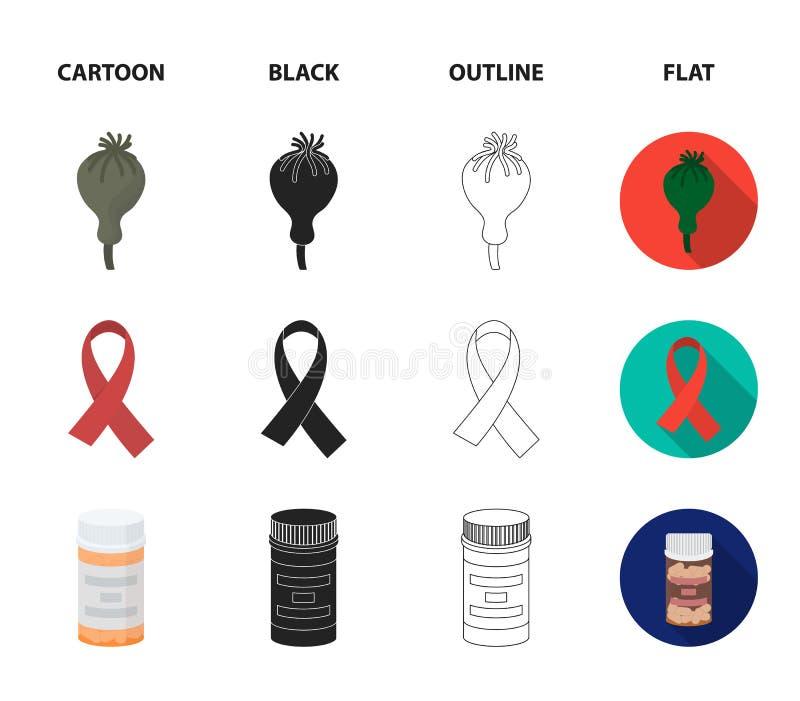 AIDS-band, tabletten, maankop, een buis voor hasjiesj Pictogrammen van de drug de vastgestelde inzameling in beeldverhaal, zwarte stock illustratie
