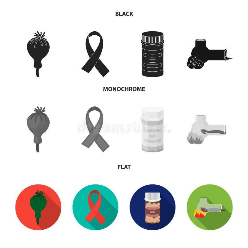AIDS-band, tabletten, maankop, een buis voor hasjiesj Pictogrammen van de drug de vastgestelde inzameling in zwarte, vlakke, zwar vector illustratie