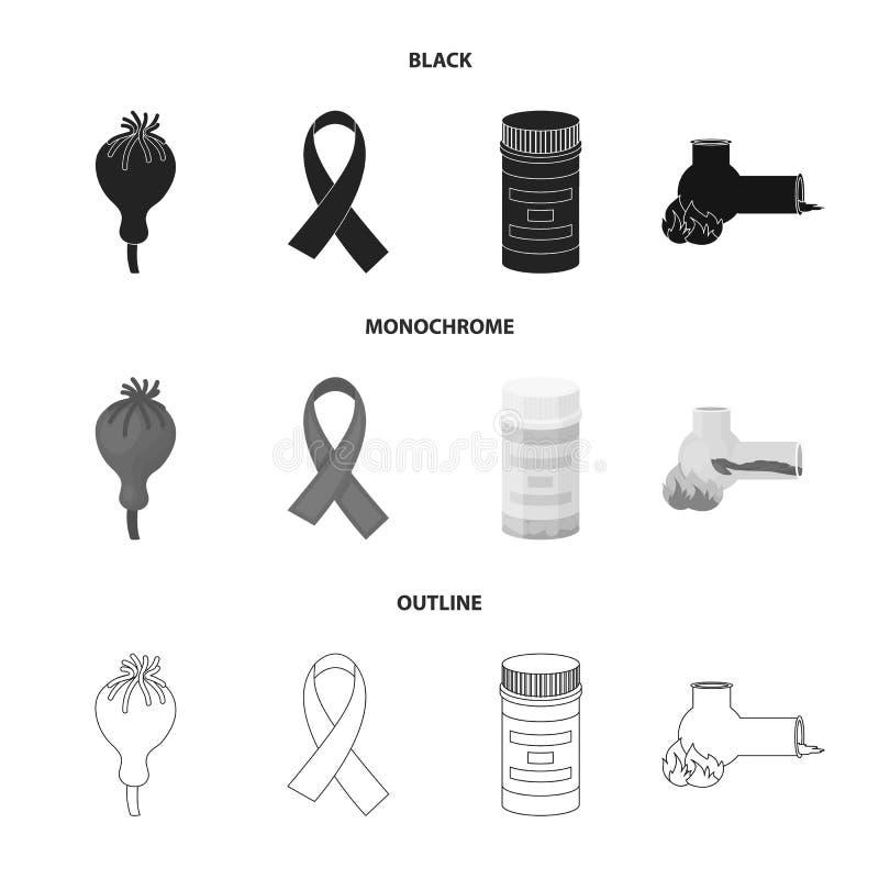 AIDS-band, tabletten, maankop, een buis voor hasjiesj Pictogrammen van de drug de vastgestelde inzameling in de zwarte, zwart-wit vector illustratie