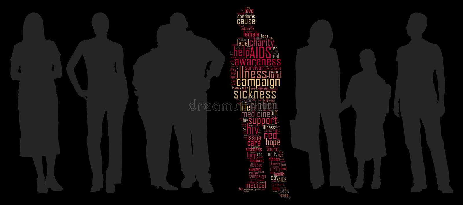 Aids campaign. Info-text graphics and arrangement concept on black background royalty free illustration