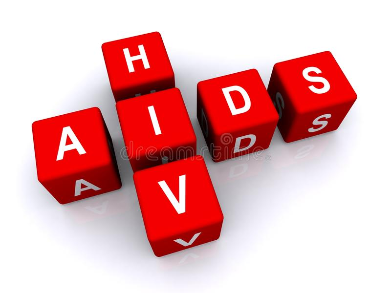Aids HIV. Sign in red 3d cubes isolated on white background