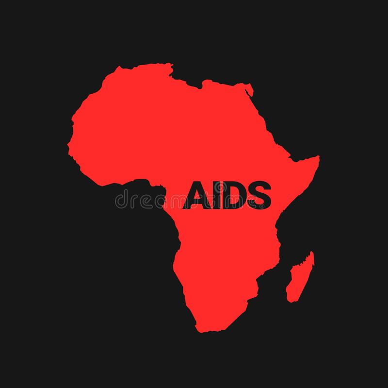 AIDS / HIV in the Africa. Health danger of dangerous and deadly disease on the african continent. Epidemic and pandemic in the region. Vector illustration royalty free illustration