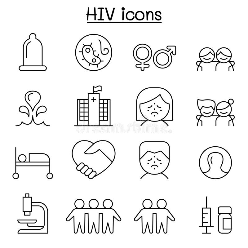 AIDS ,HIV icon set in thin line style. Vector illustration graphic design stock illustration