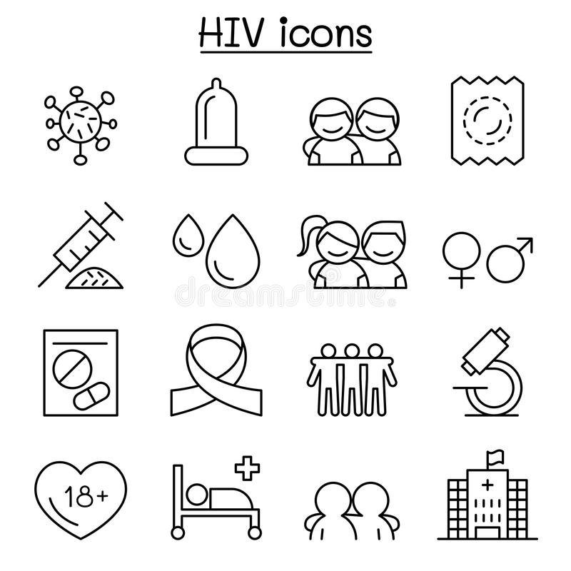 AIDS ,HIV icon set in thin line style. Vector illustration graphic design vector illustration