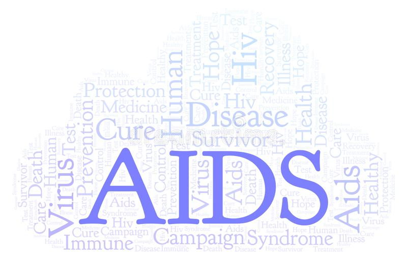 AIDS word cloud, made with text only. AIDS word cloud, made with text only vector illustration