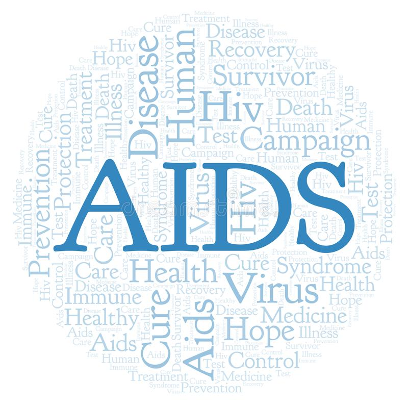 AIDS word cloud, made with text only. AIDS word cloud, made with text only stock illustration