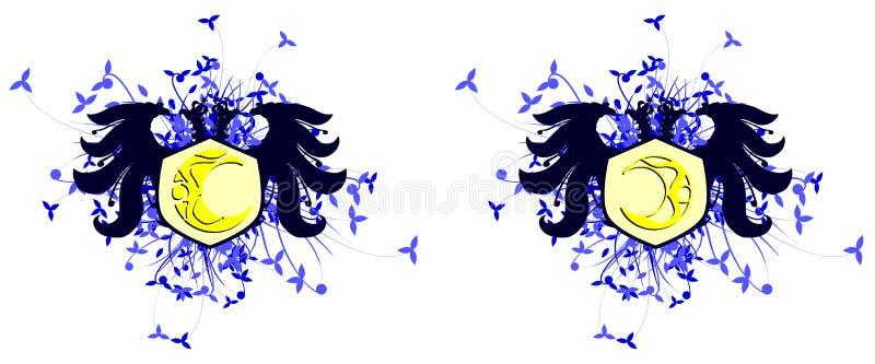 Aigle à deux têtes avec la lune d'isolement illustration libre de droits