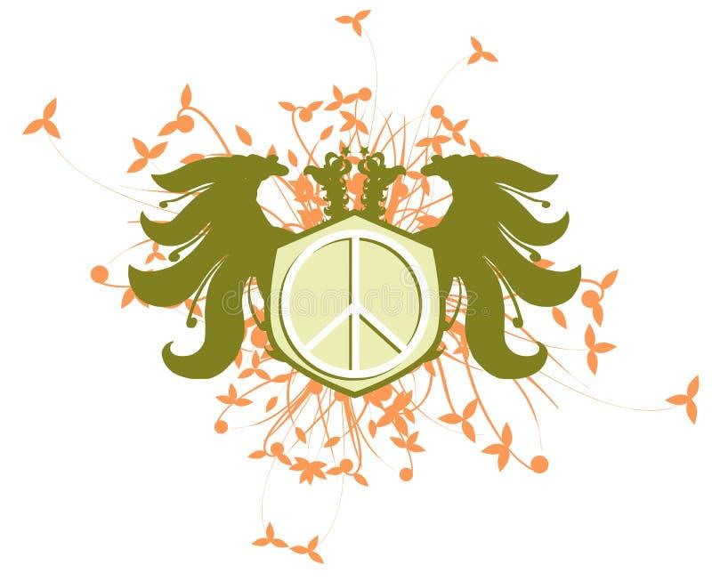 Aigle à deux têtes avec le symbole de paix d'isolement illustration stock