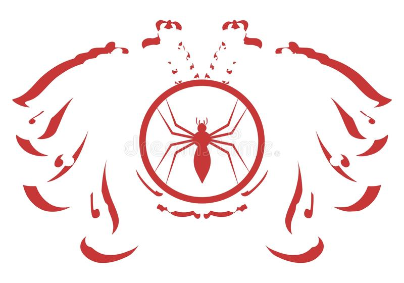 Aigle à deux têtes stylisé avec l'araignée d'isolement illustration libre de droits