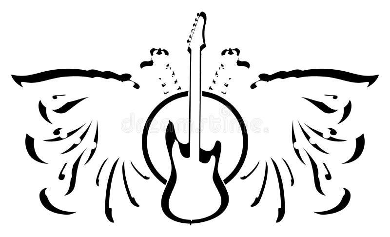 Aigle à deux têtes stylisé avec la guitare illustration stock