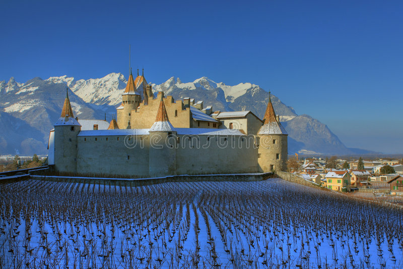 Aigle castle in winter, Switzerland stock photos