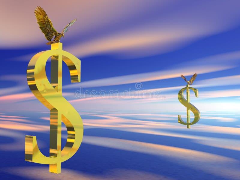 Aigle chauve américain sur le signe du dollar. illustration libre de droits