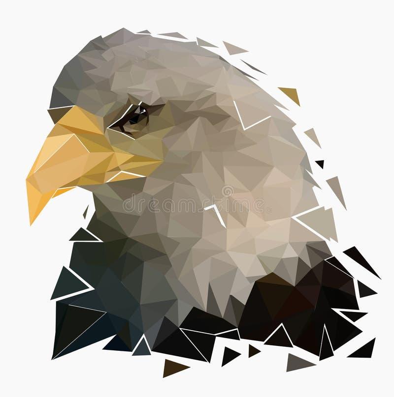 Aigle chauve d'isolement sur le fond blanc, basse poly tête de faucon, illustration de vecteur illustration libre de droits