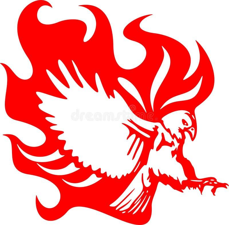 Aigle d'Atacking en flammes 6 illustration stock