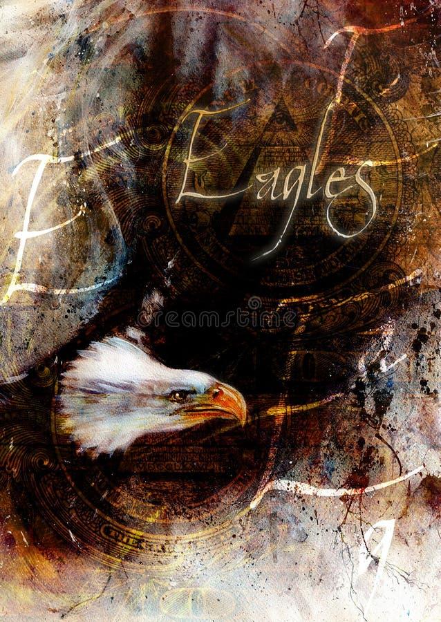 Aigle de peinture avec les plumes noires sur un fond abstrait, liberté de symboles des Etats-Unis, avec le texte illustration de vecteur
