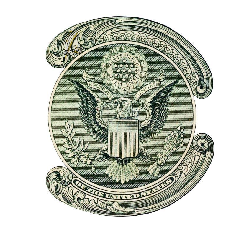 Aigle des Etats-Unis sur le billet d'un dollar photographie stock