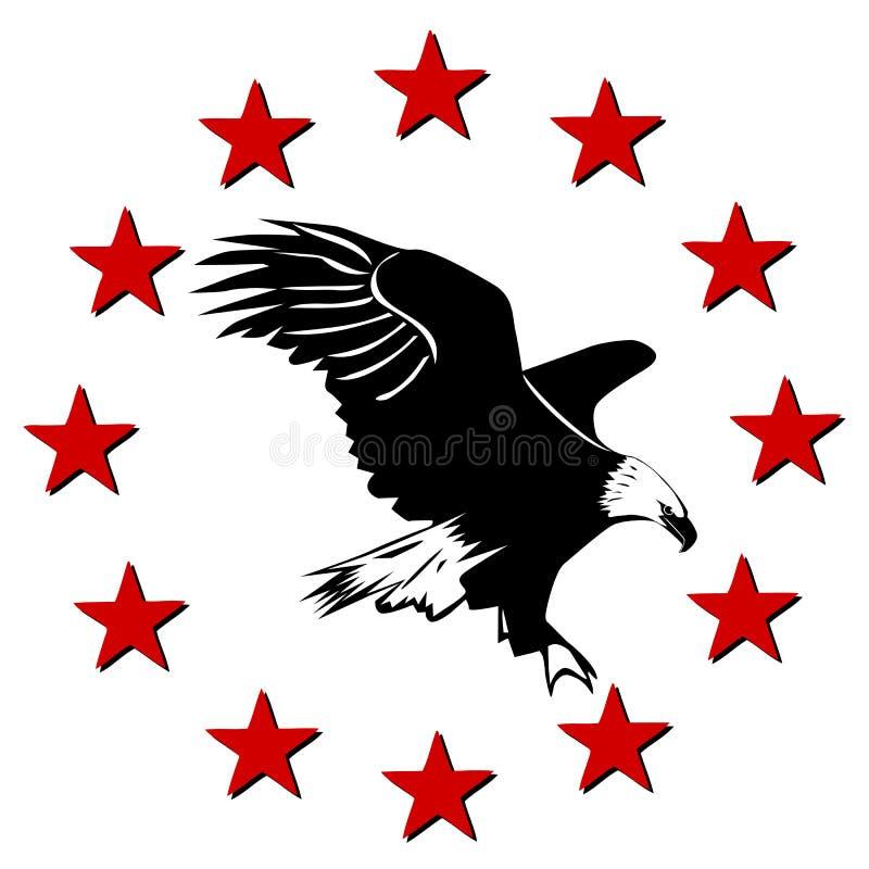 Aigle et étoiles américains illustration libre de droits