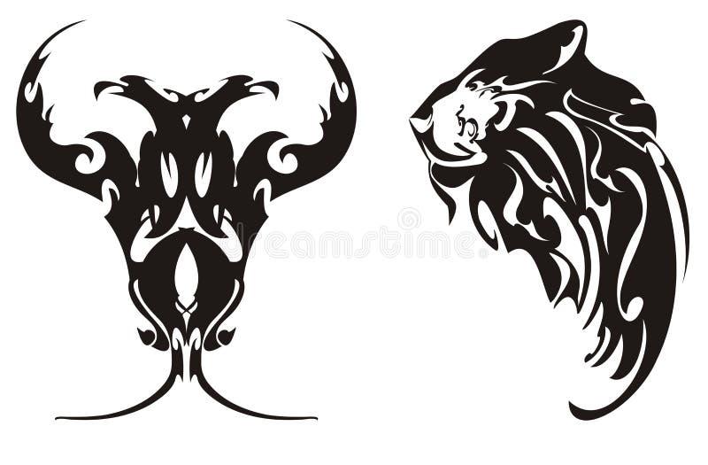 Aigle et tête Two-headed des symboles d'un lion illustration stock