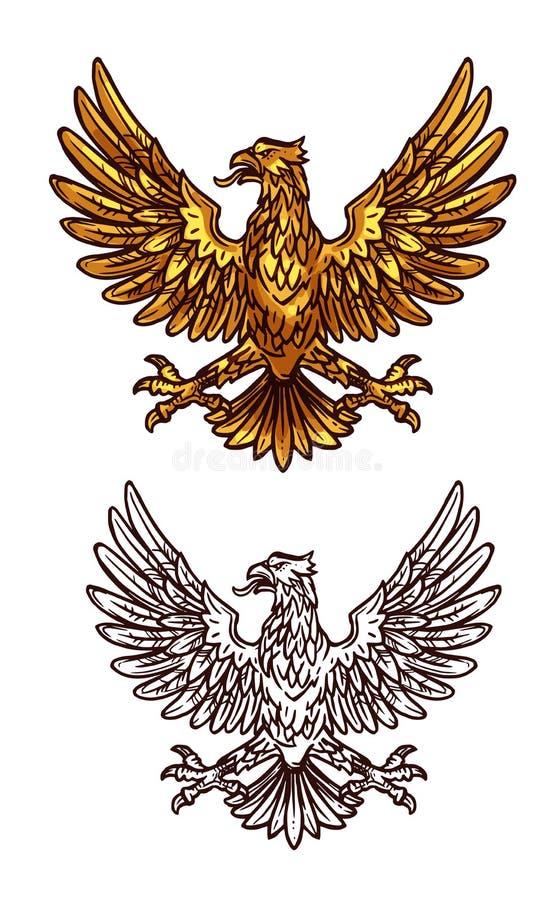 Aigle gothique d'or, icône héraldique de croquis de vecteur illustration libre de droits