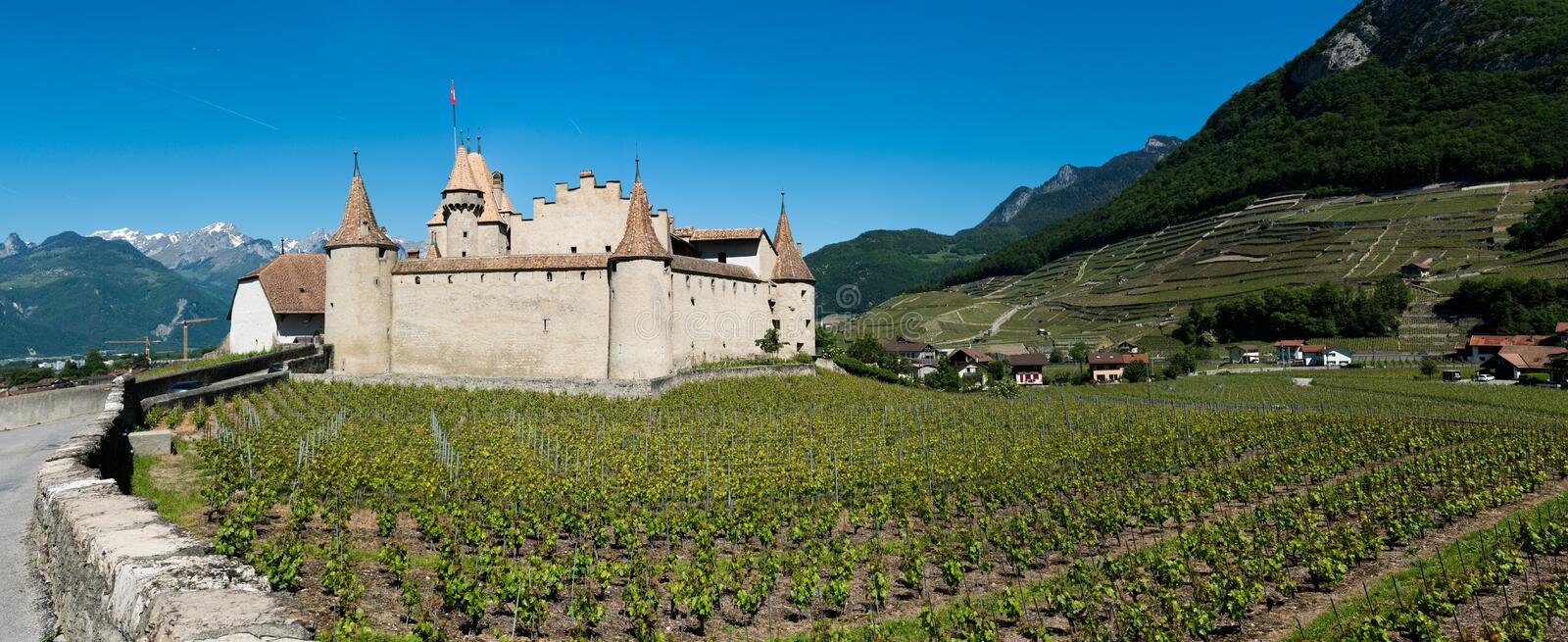 Aigle, VD / Switzerland - 31 May 2019: panorama landscape view of Chablis vineyards and grapevines and Aigle Castle in the Rhone stock photo