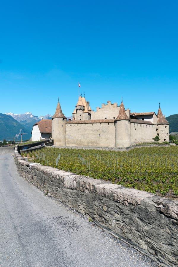Aigle, VD/Zwitserland - 31 Mei 2019: het historische kasteel in Aigle in het Zwitserse kanton van Vaud met de zomerwijngaarden royalty-vrije stock foto's