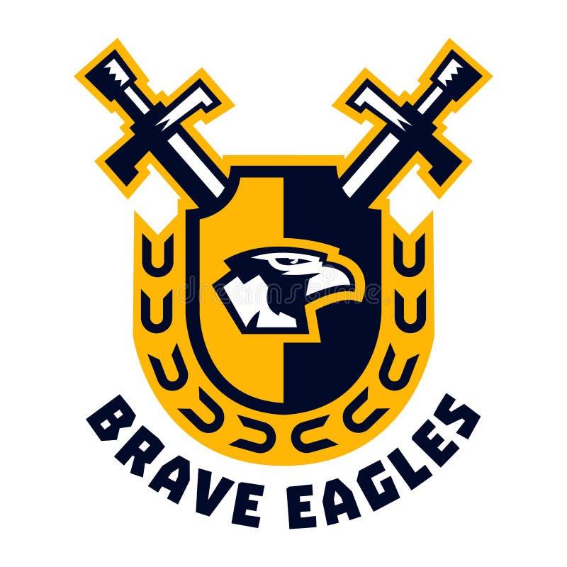Aigles courageux de logo Tête d'Eagle placée sur le bouclier Épées et guirlande L'emblème sur les Moyens Âges et la guerre illustration de vecteur