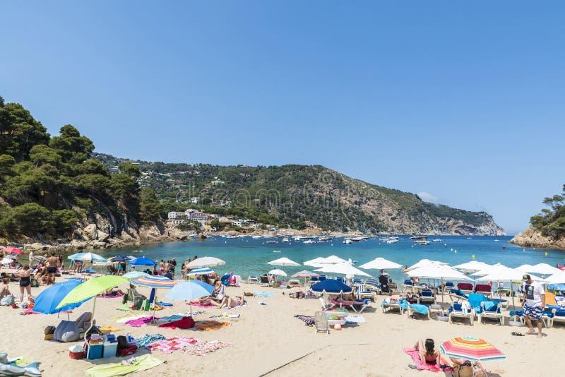 Aiguablavastrand in Costa Brava, Catalonië, Spanje royalty-vrije stock afbeelding