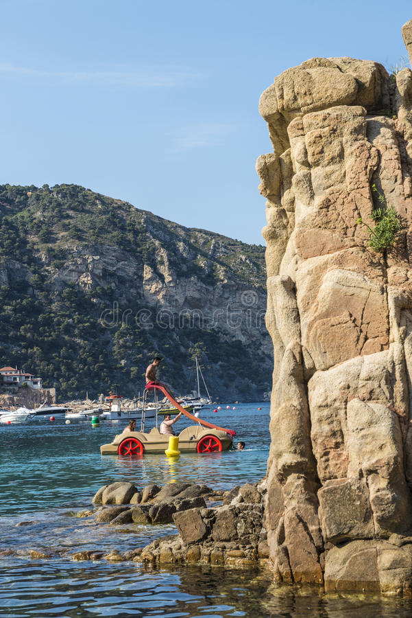 Aiguablavastrand in Costa Brava, Catalonië, Spanje royalty-vrije stock foto