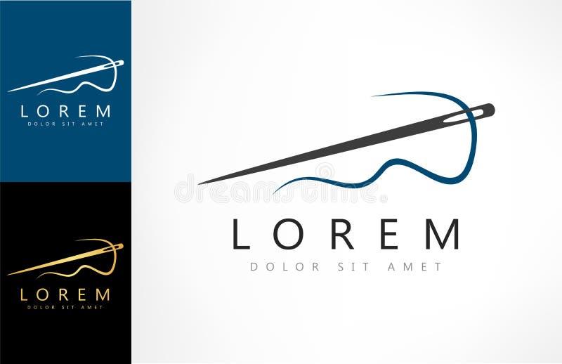 Aiguille avec le logo de couture de vecteur de fil illustration stock