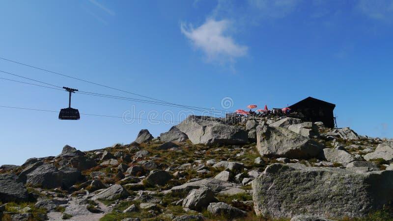 Aiguille de Chamonix cable car ascending to the Aiguille de Midi and Mont Blanc in France. stock photo