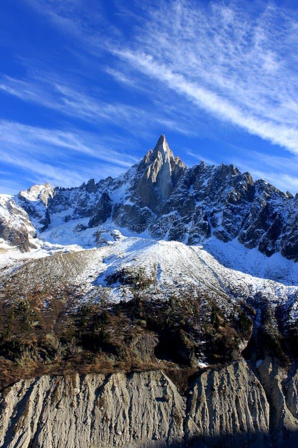 Aiguille du Dru en el macizo de Montblanc, montan@as francesas fotos de archivo libres de regalías