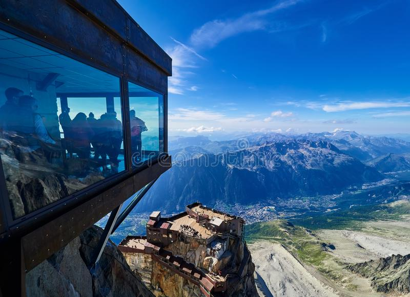 Aiguille du Midi, Chamonix, Francia fotografía de archivo libre de regalías