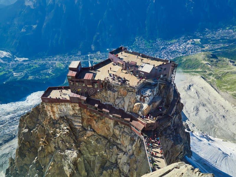 Aiguille du Midi, Chamonix, Frankrijk stock foto's