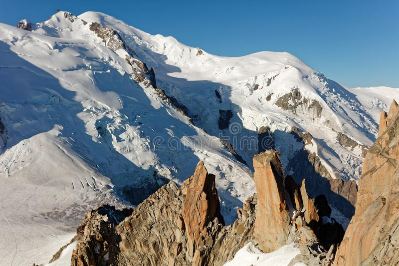 Aiguille du Midi, Chamonix. Sunny views from cable car station towards Mont Blanc. royalty free stock photography