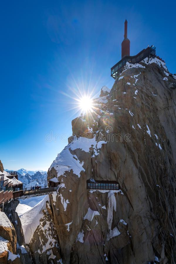The Aiguille du Midi with footbridge and observation deck. Chamonix needles, Mont Blanc. Haute-Savoie, Alps, France. The Aiguille du Midi 3842m with footbridge stock images